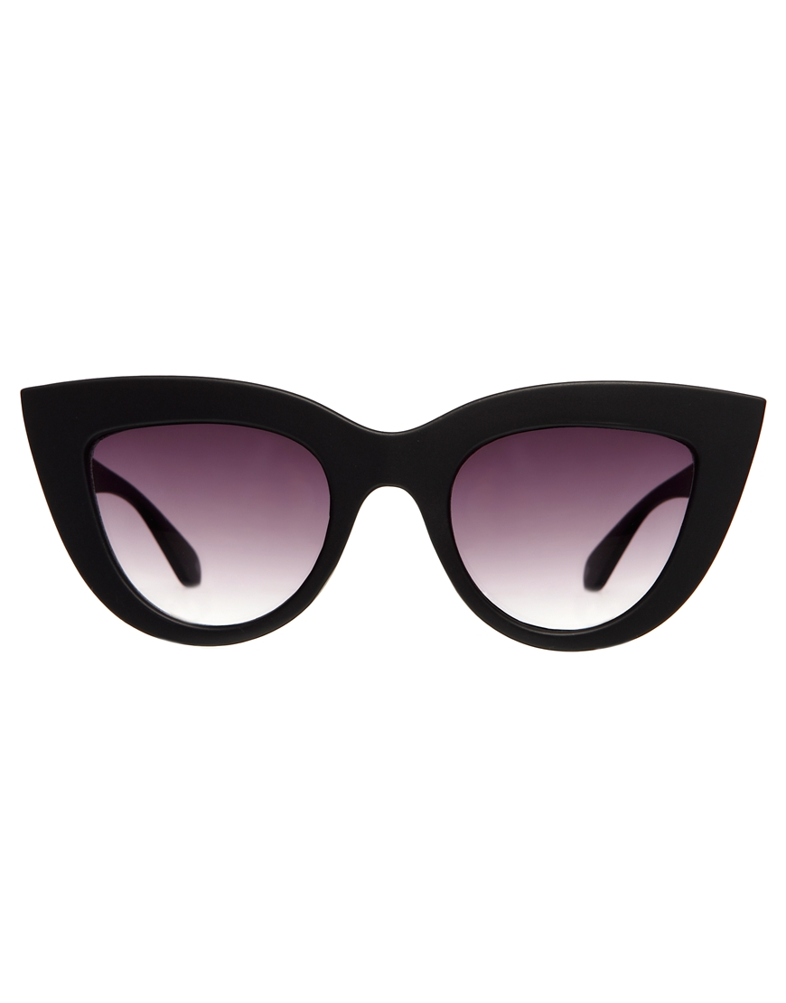 lyst quay kitti cat eye sunglasses in black. Black Bedroom Furniture Sets. Home Design Ideas