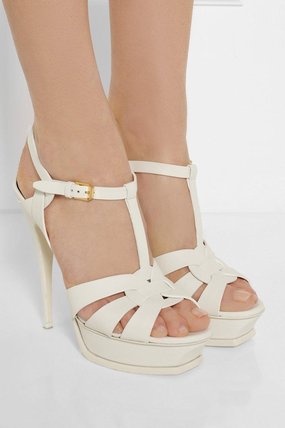 Lyst Saint Laurent Tribute Leather Platform Sandals In White