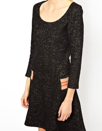 See By Chloé Dress in Boucle with Jersey Rib Detail - Lyst