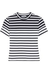 T By Alexander Wang Cropped Striped Stretchcotton Top - Lyst