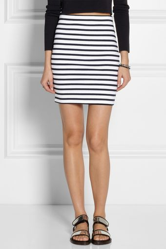 T By Alexander Wang Striped Stretchcotton Pencil Skirt - Lyst