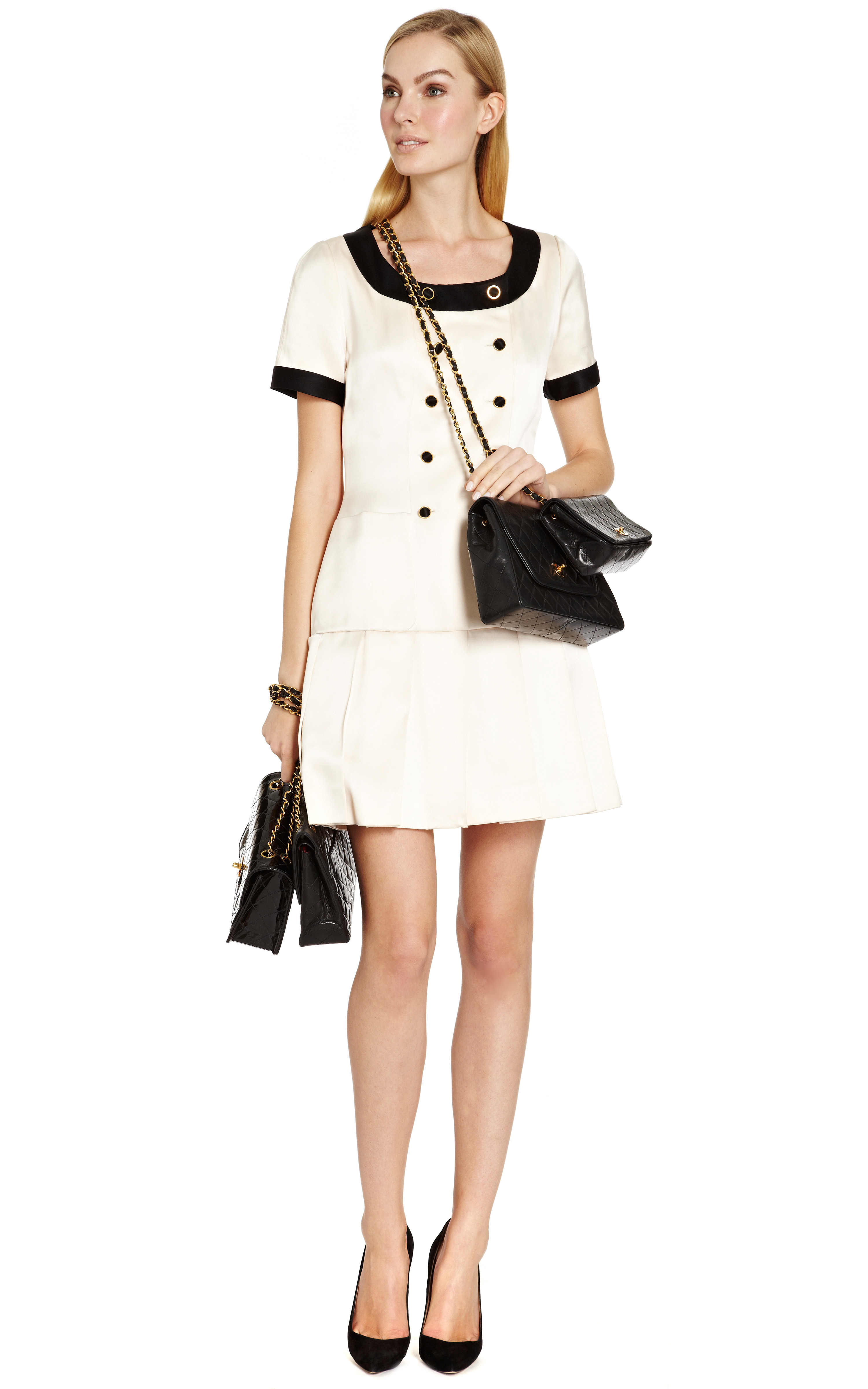 Chanel Chanel White Satin Dress With Black Trim From What