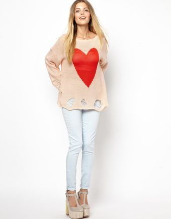 Wildfox White Label Big Heart Jumper - Lyst