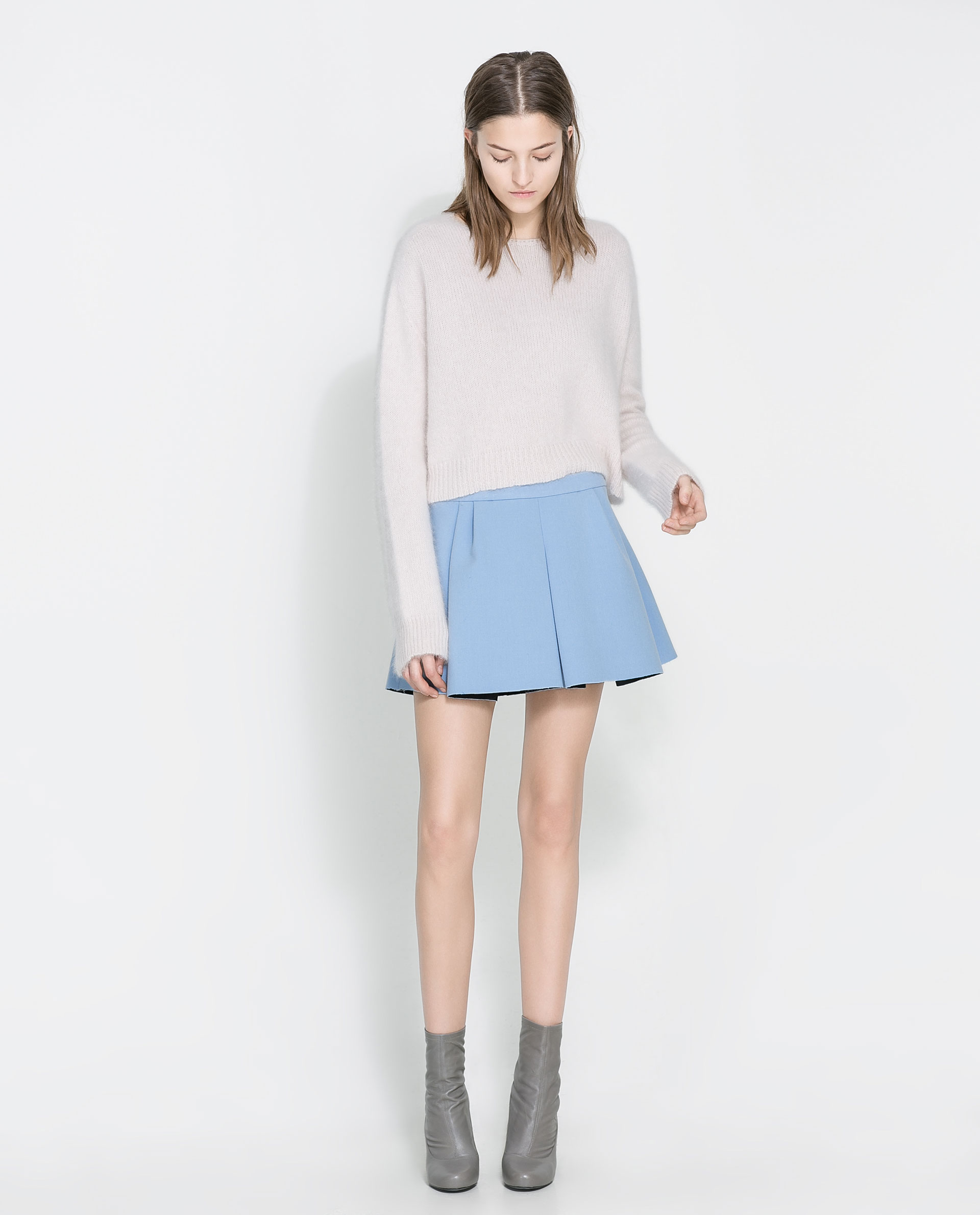 Zara Pleated Mini Skirt in Blue | Lyst