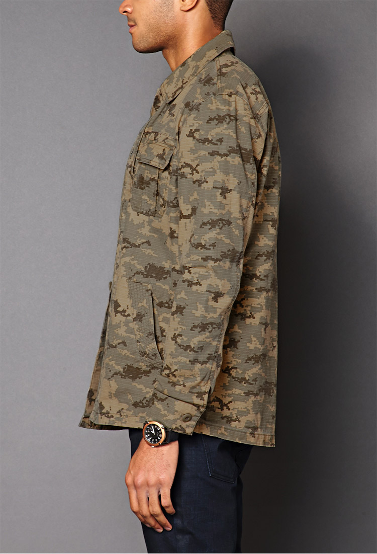 7b0385fd034b2 Forever 21 Pixelated Camo Jacket in Natural for Men - Lyst