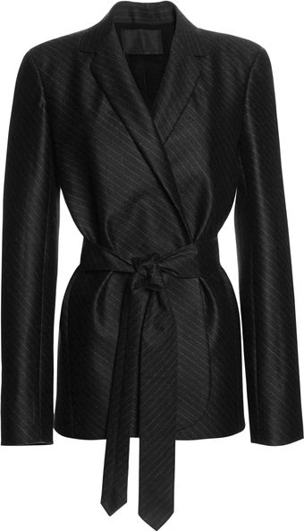 Alexander Wang Bias Cut Pinstripe Robe Blazer with Belt - Lyst