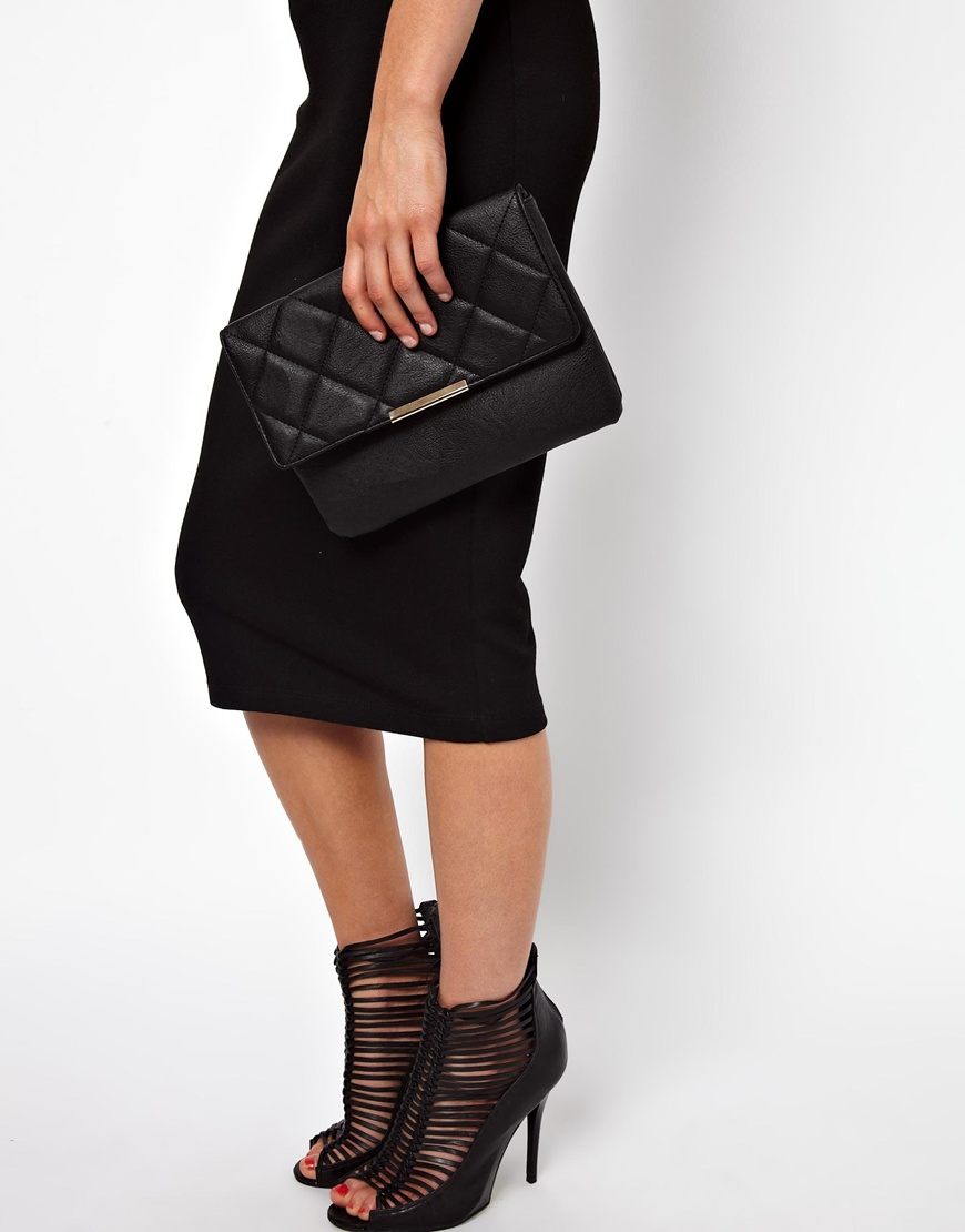 Asos Clutch Bag with Oversized Quilted Flap in Black | Lyst