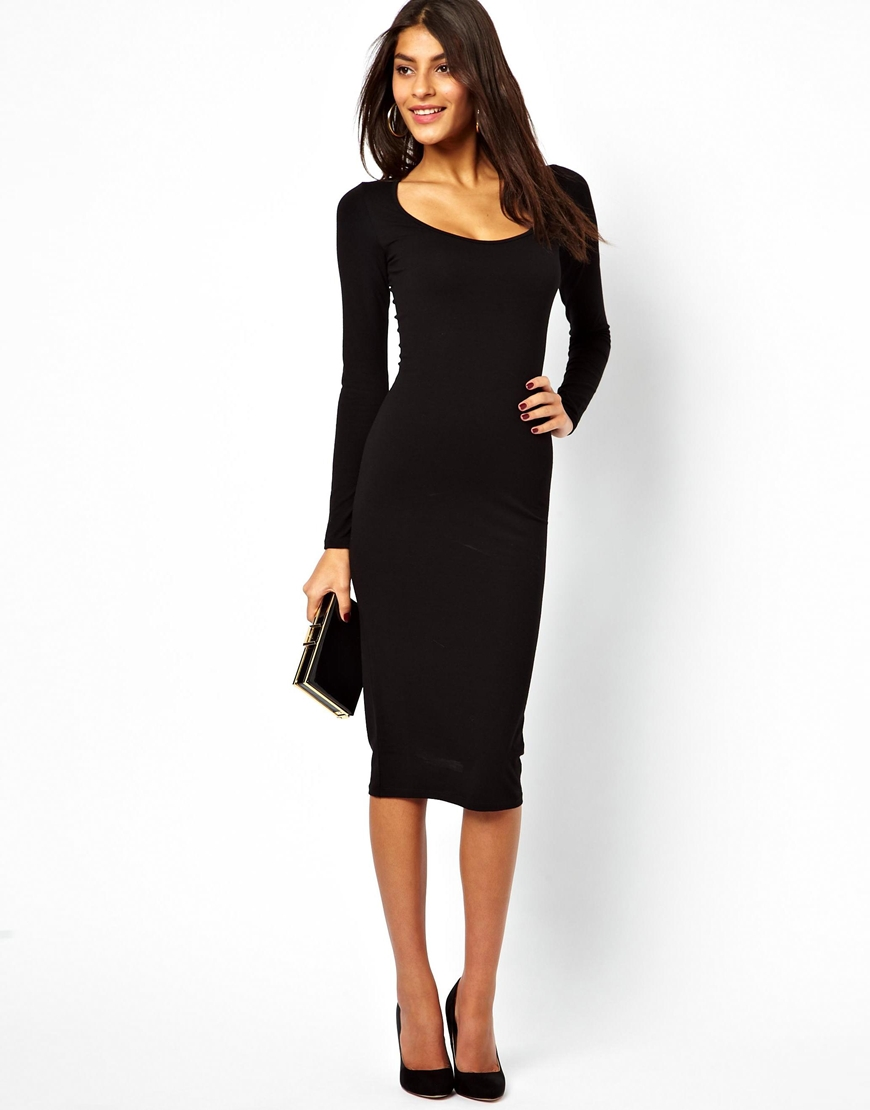 caef14aeea7 ASOS Midi Bodycon Dress with Long Sleeves in Black - Lyst