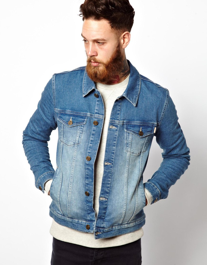 lyst  asos denim jacket in skinny fit in blue for men