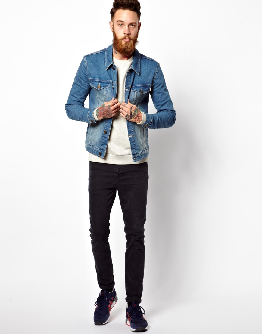 Asos Denim Jacket In Skinny Fit in Blue for Men | Lyst