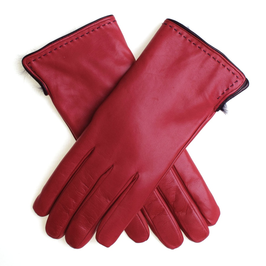 John lewis ladies black leather gloves - Black Co Uk Red And Navy Rabbit Fur Lined Leather Gloves In Lyst
