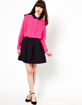 Boutique By Jaeger Shirt with Scalloped Edge Collar - Lyst