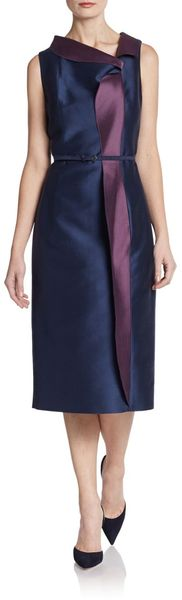 Carolina Herrera Mikado Belted Two Tone Dress - Lyst
