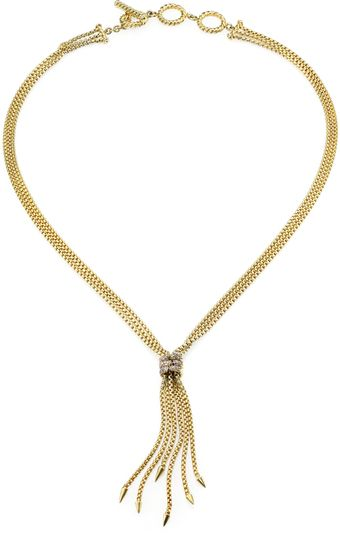 David Yurman Diamond 18k Yellow Gold Tassel Necklace - Lyst