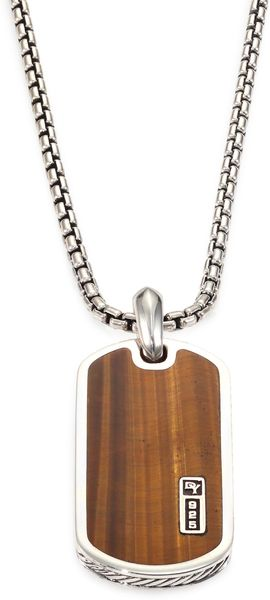 David Yurman Inlay Dog Tag Necklace - Lyst