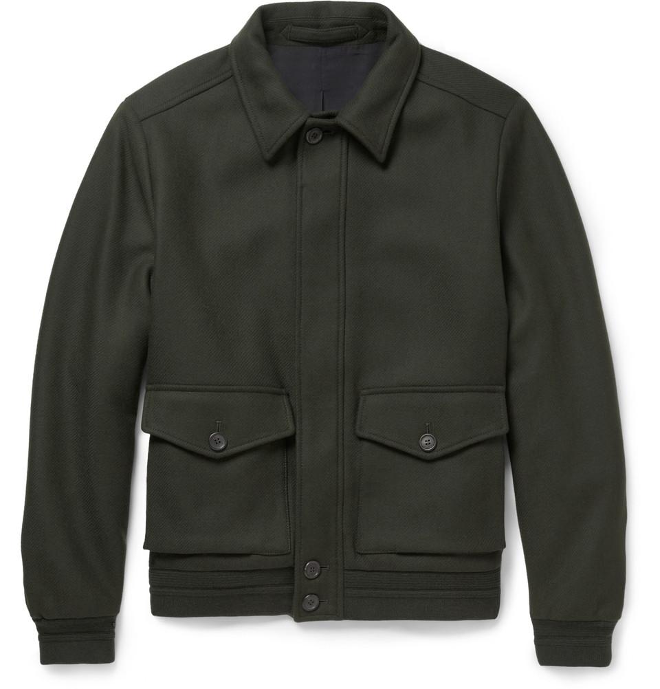 Dunhill Charlton Wool Blend Bomber Jacket In Green For Men