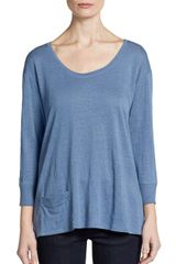 Eileen Fisher Linen Three Quarter Sleeve Scoopneck Tee - Lyst