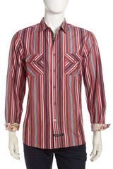 English Laundry Fleet Sport Shirt Redblack Stripe - Lyst