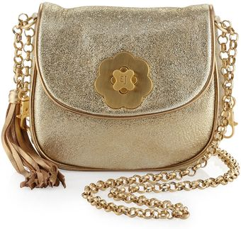 Eric Javits Baby Distressed Leather Shoulder Bag Gold - Lyst