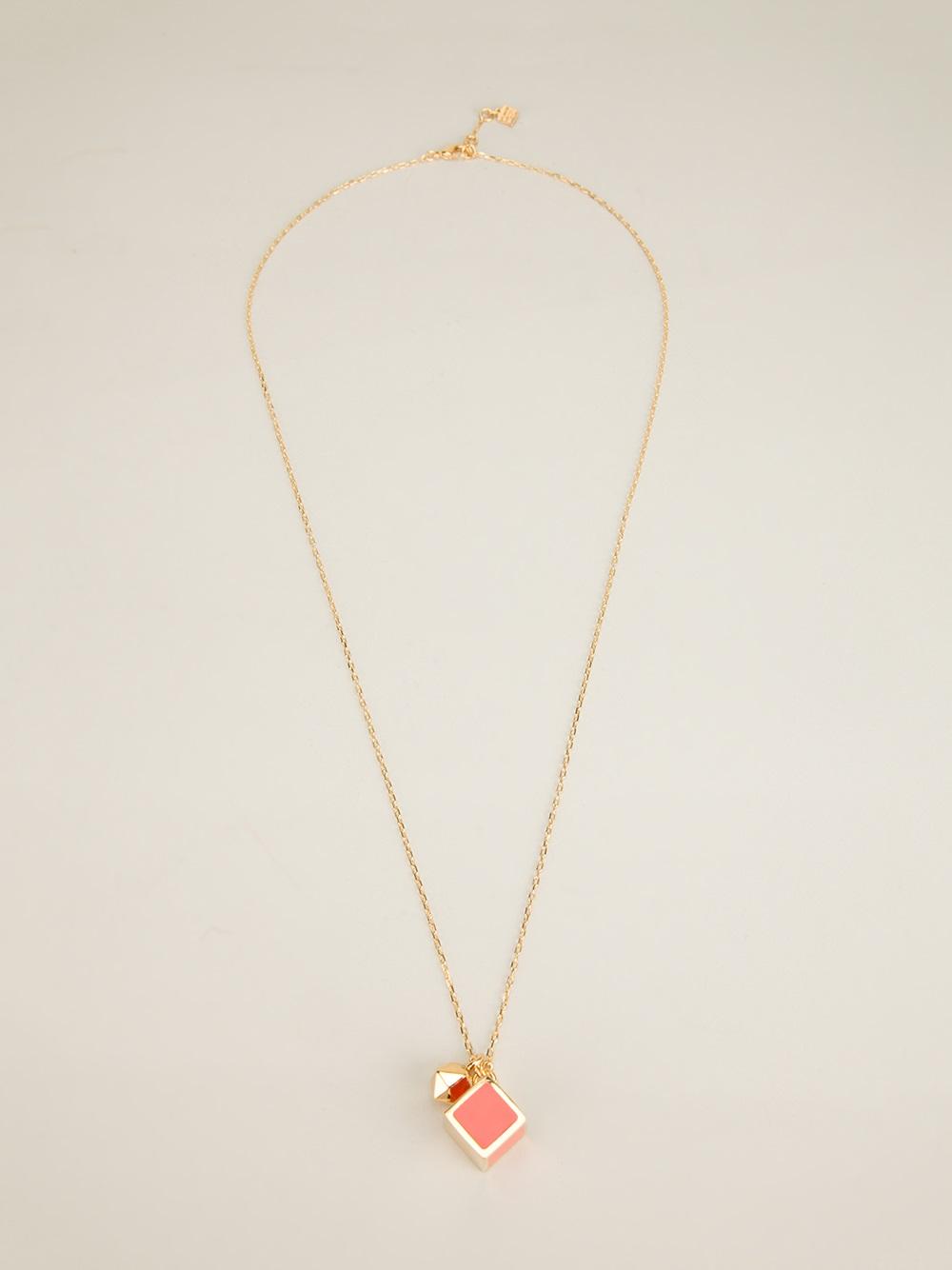 fendi enamelled cube pendant in gold metallic lyst