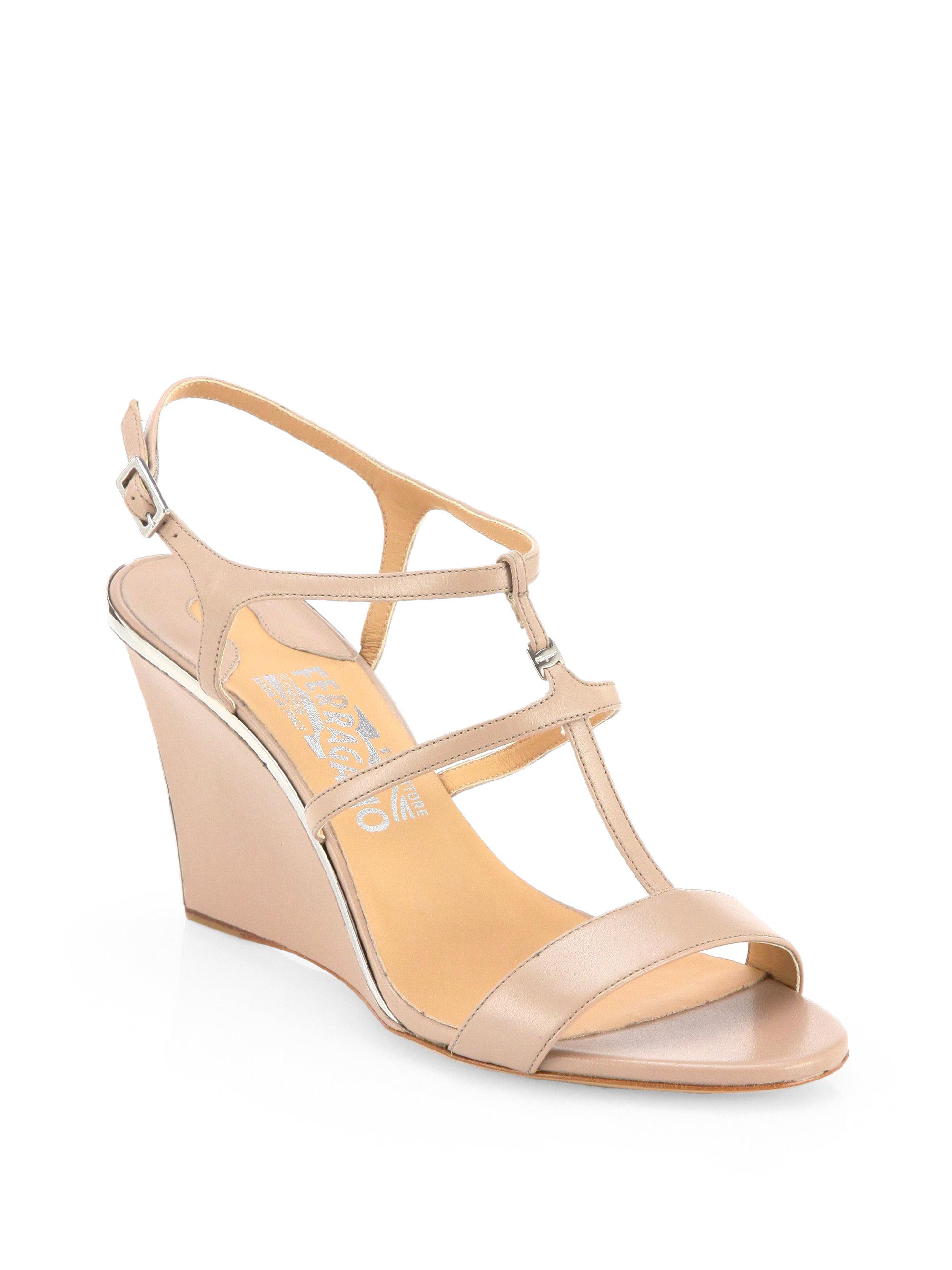 ferragamo pakuna leather wedge sandals in pink lyst
