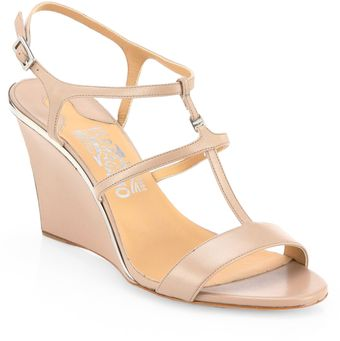 Ferragamo Pakuna Leather Wedge Sandals - Lyst