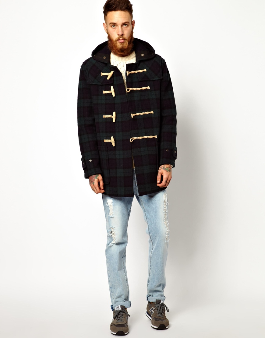 Gloverall Duffle Coat in Black Watch Plaid in Gray for Men | Lyst