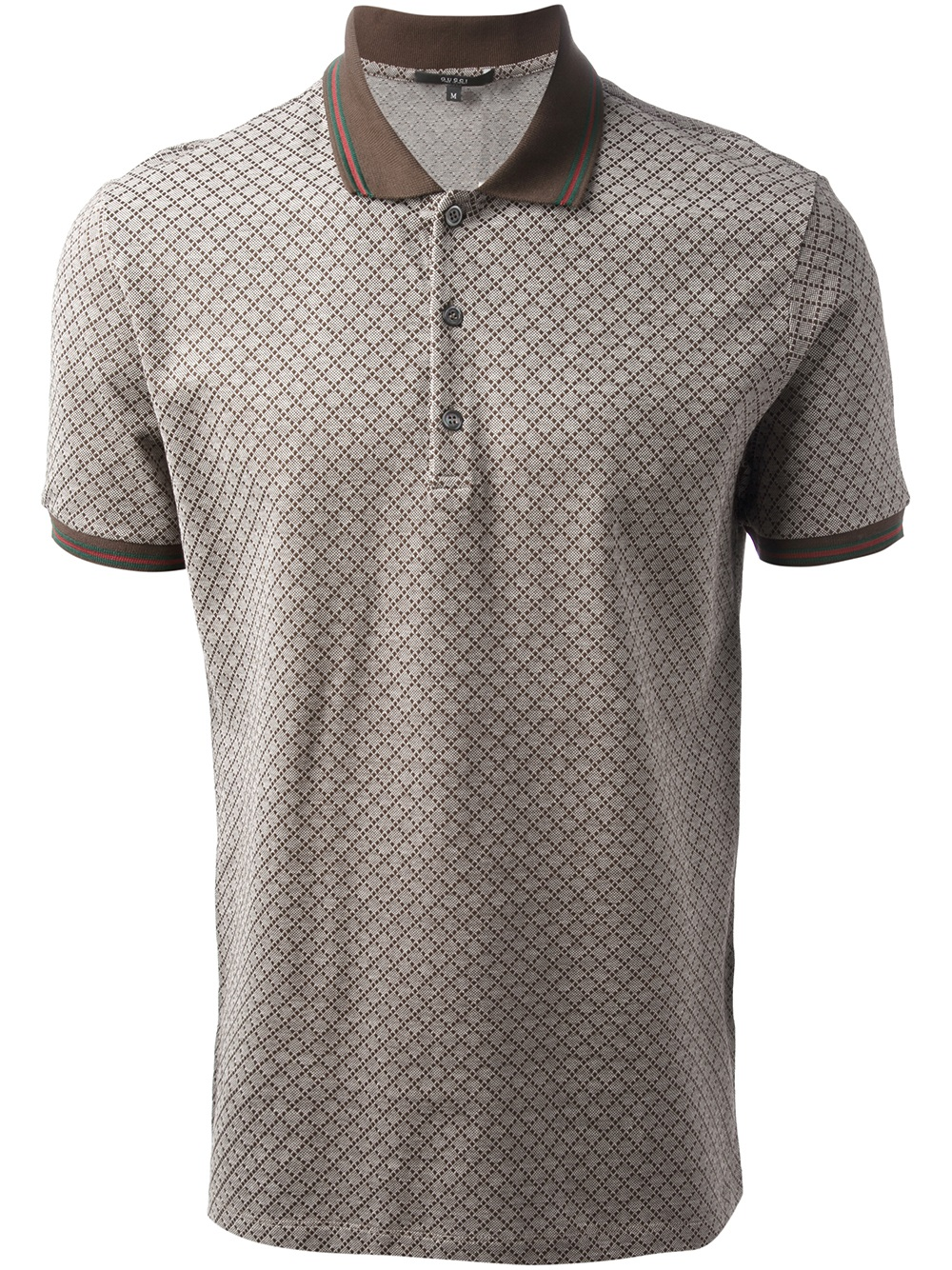 ede877b6ddc9 Gucci Grid Print Polo Shirt in Brown for Men - Lyst