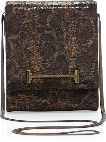 Halston Heritage Small Box Shoulder Bag Bronze Snake Print - Lyst
