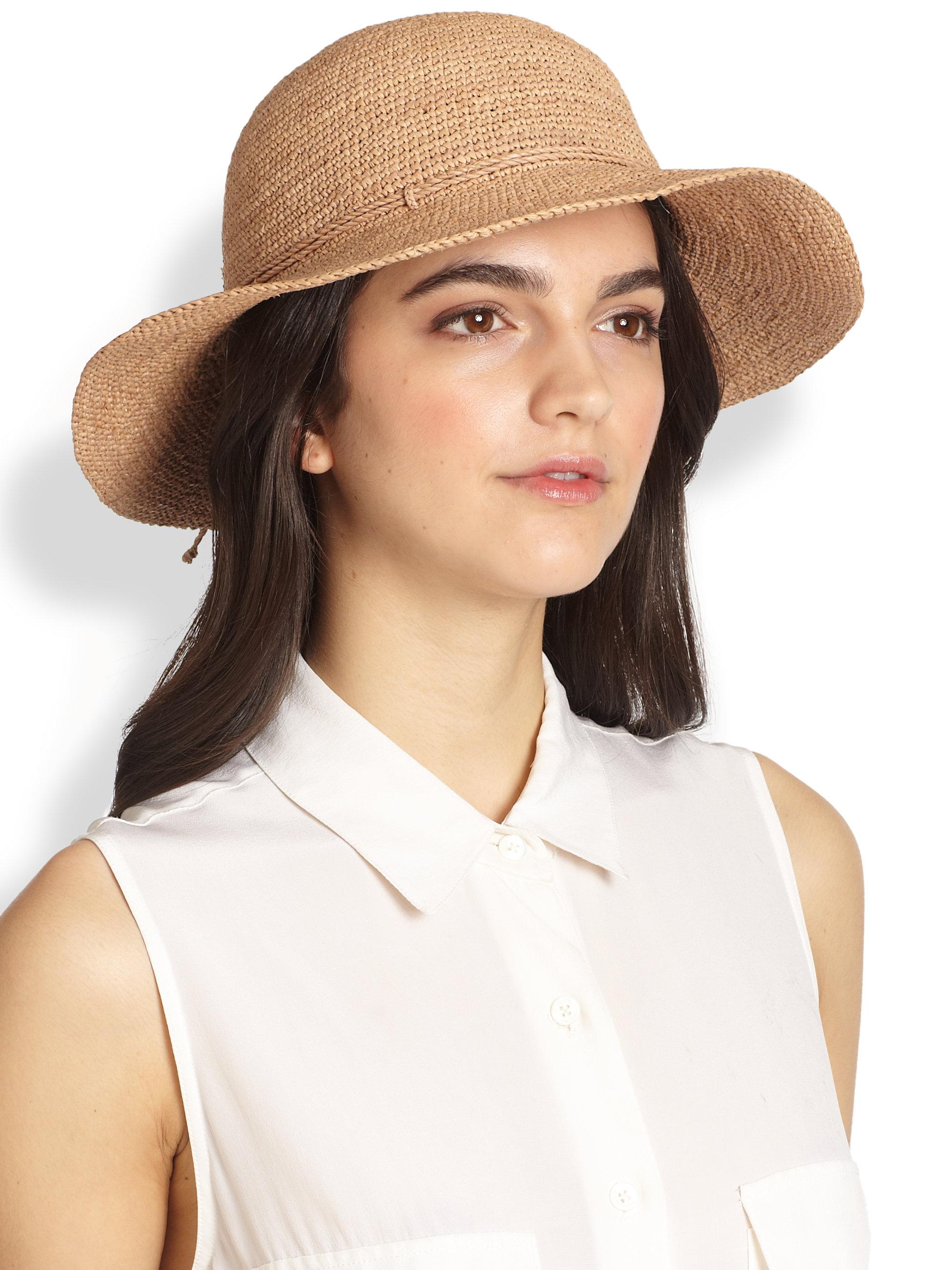 4dcd5cba412318 Helen Kaminski Caicos Raffia Crochet Hat in Brown - Lyst