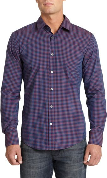 Hugo Boss Ronny Gingham Buttonfront Shirtpurple Blue - Lyst