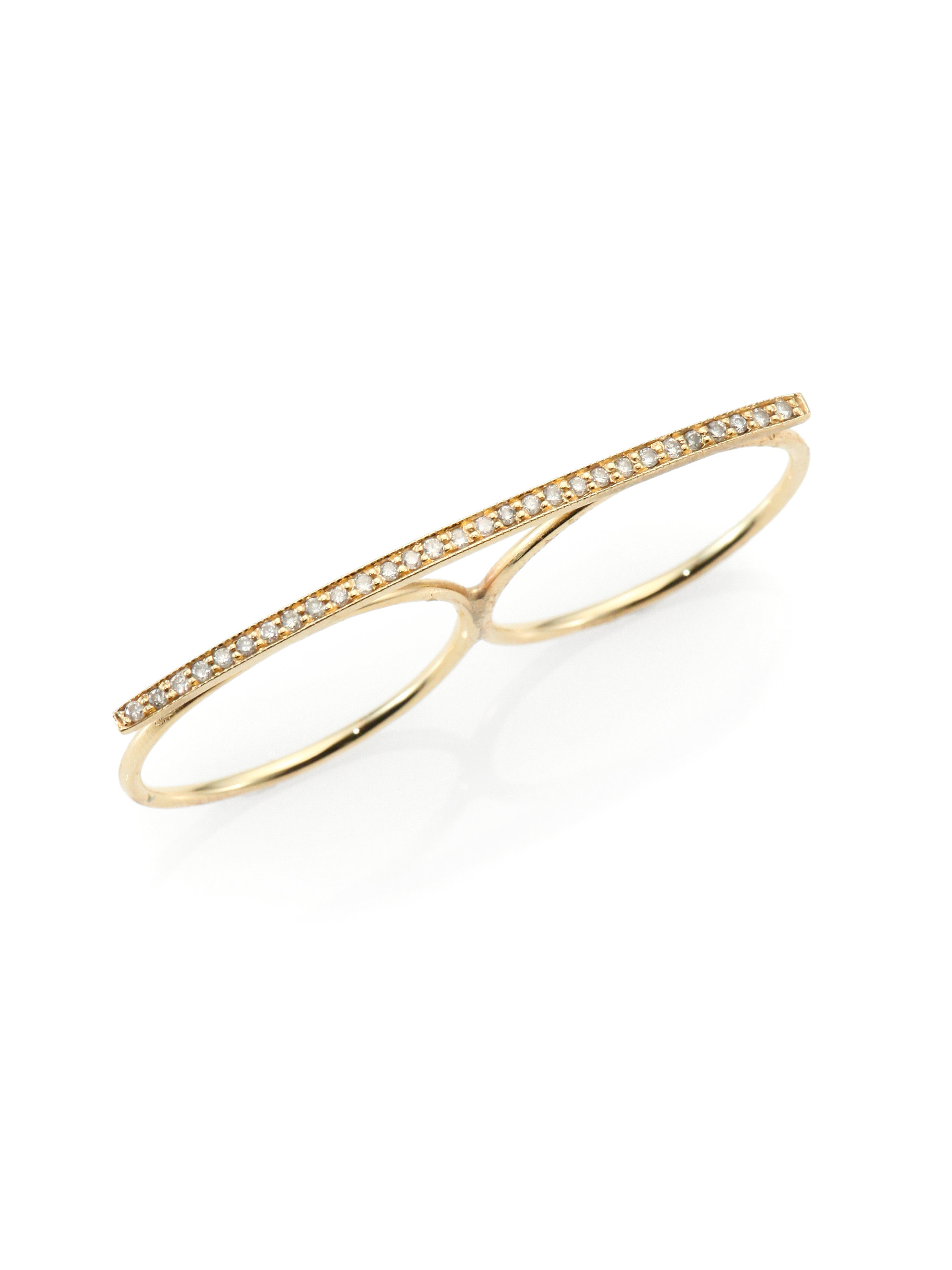 Lyst Jacquie Aiche Diamond Amp 14k Gold Two Finger Bar