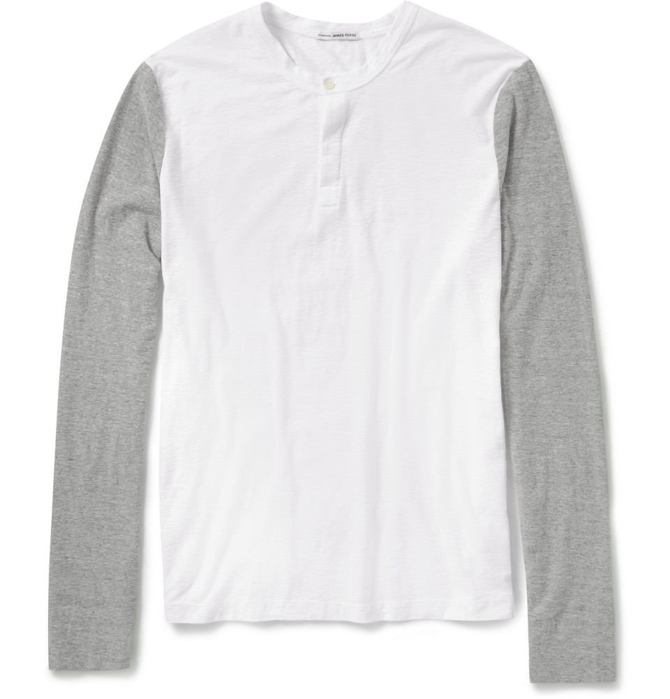 James Perse Slub Cottonjersey Henley Tshirt In White For