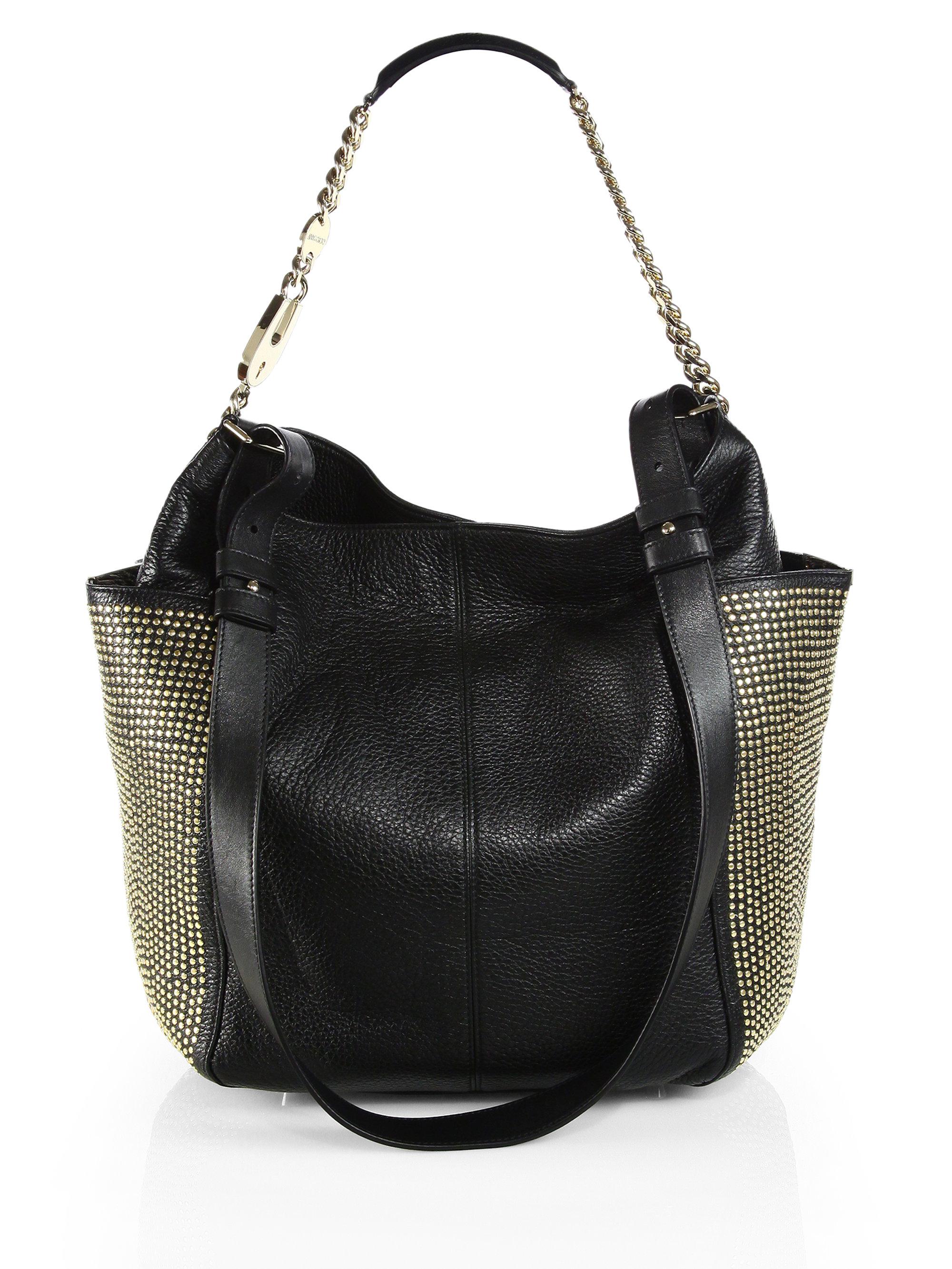 Lyst Jimmy Choo Anna Studded Pocket Shoulder Bag In Black