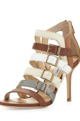 Jimmy Choo Bubble Buckled Combo Sandal Neutral - Lyst
