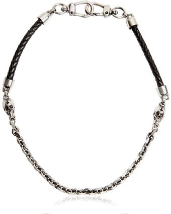 John Richmond Woven Leather Metal Pocket Chain - Lyst