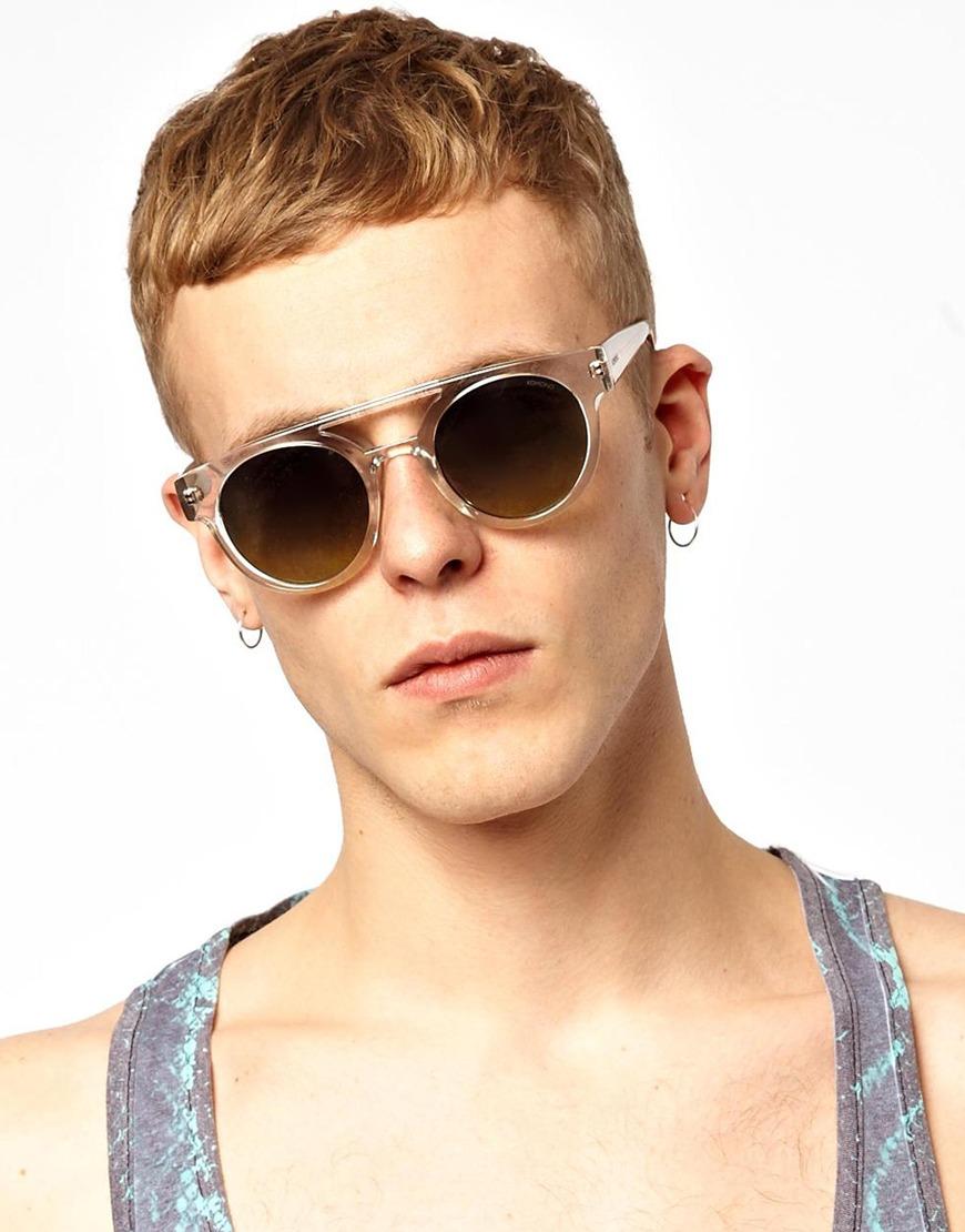 Clear Round Sunglasses  komono dreyfuss round sunglasses for men lyst