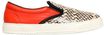 Kurt Geiger 20mm London Leather Snake Print Sneakers - Lyst