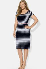 Lauren by Ralph Lauren Stripe Scoop Neck Dress with Contrast Belt - Lyst