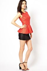 Little Mistress Embroidered Lace Peplum Top - Lyst