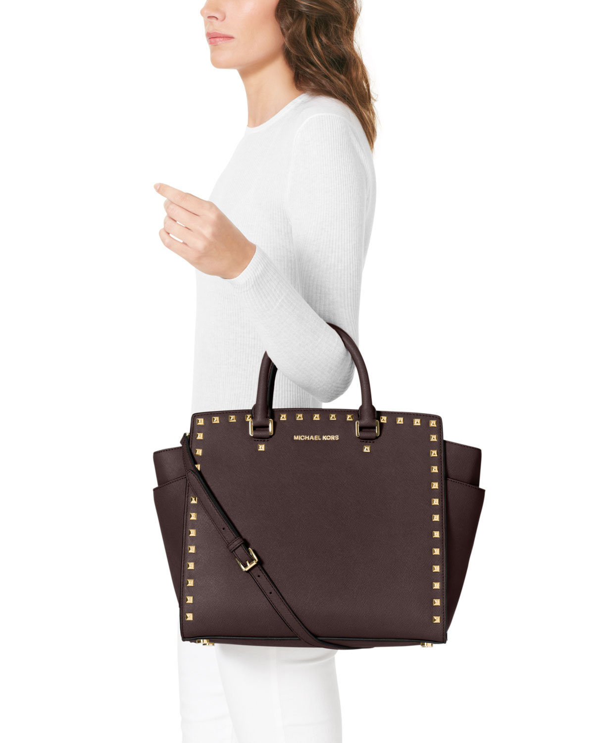 bb507dc2512e MICHAEL Michael Kors Large Selma Studded Saffiano Tote in Brown - Lyst