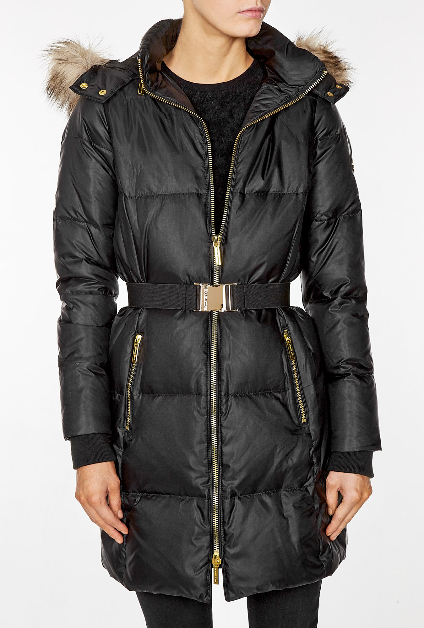 michael michael kors faux fur trim hooded down jacket in black lyst. Black Bedroom Furniture Sets. Home Design Ideas