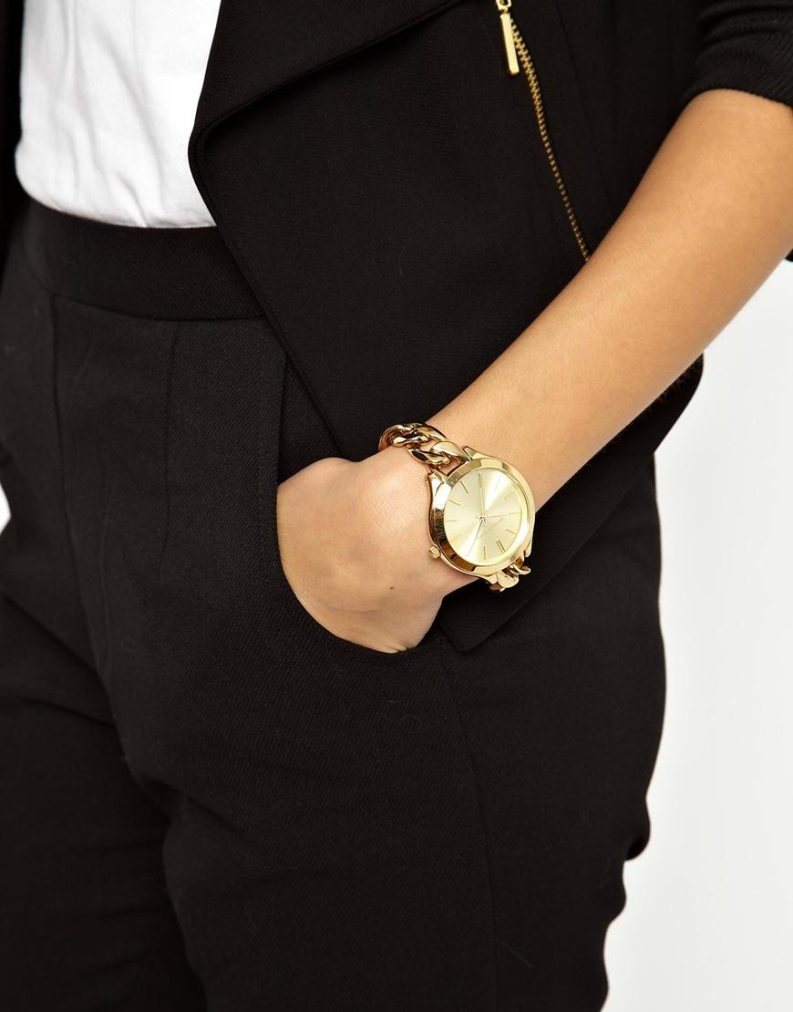lyst   michael kors slim runway gold watch in metallic