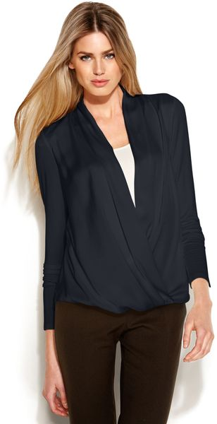 Michael Kors Long Sleeve Draped Blouse - Lyst