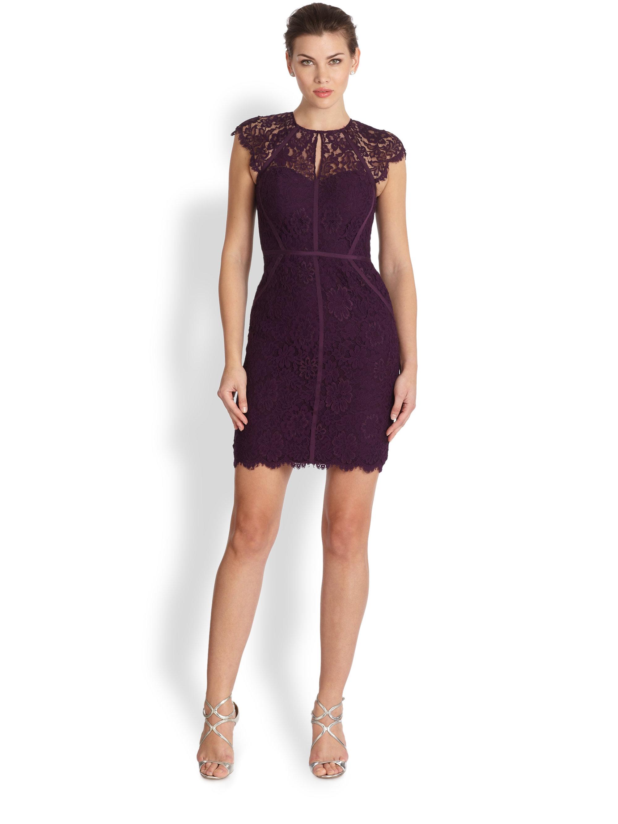 Ml monique lhuillier Diamond-Back Lace Dress in Purple | Lyst