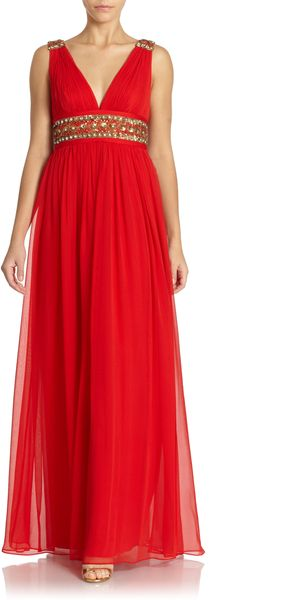 Notte By Marchesa Shirred Silk Chiffon Gown - Lyst