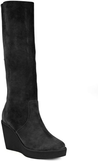 Pierre Hardy Suede Kneehigh Wedge Boots - Lyst