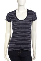 Splendid Striped Tee Shirt Navy - Lyst