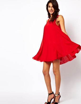 Tfnc Red Mini Swing Dress - Lyst