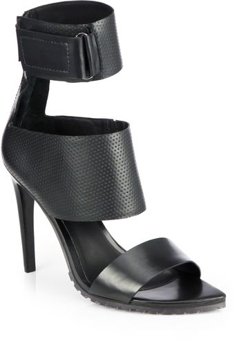 Tibi Evie Leather Anklestrap Sandals - Lyst